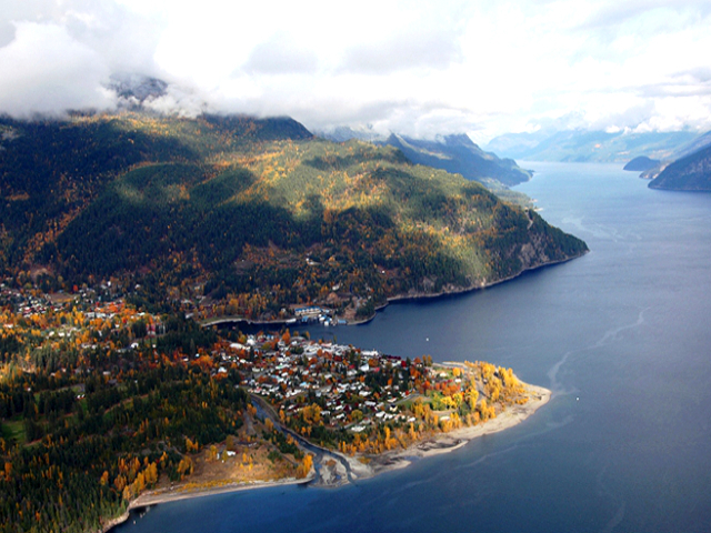 Aerial view of Kaslo in Fall